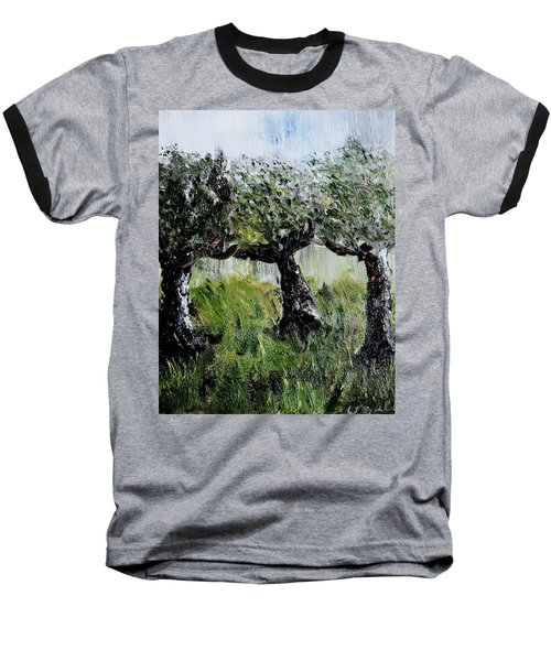 Baseball T-Shirt featuring the painting Drizzle by Evelina Popilian