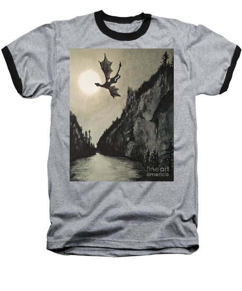 Baseball T-Shirt featuring the painting Drogon's Lair by Suzette Kallen