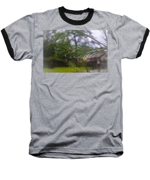Baseball T-Shirt featuring the photograph Droplets On Pine Branch by Deborah Smolinske
