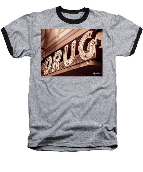Drug Store Sign - Vintage Downtown Pharmacy Baseball T-Shirt