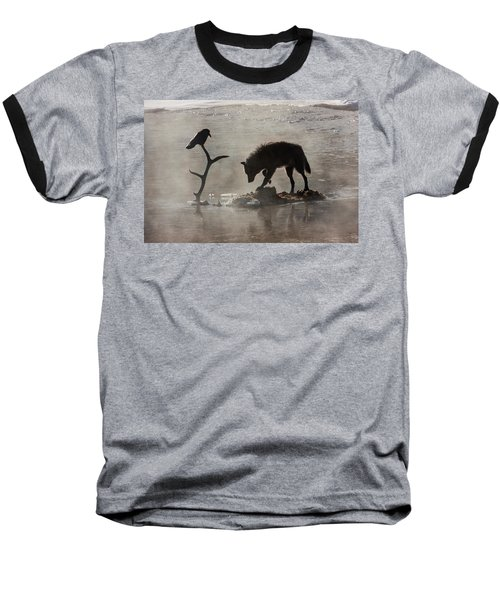 Druid Wolf And Raven Silhouette Baseball T-Shirt