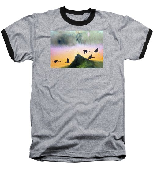 Baseball T-Shirt featuring the painting  Lake Lucerne by Ed  Heaton