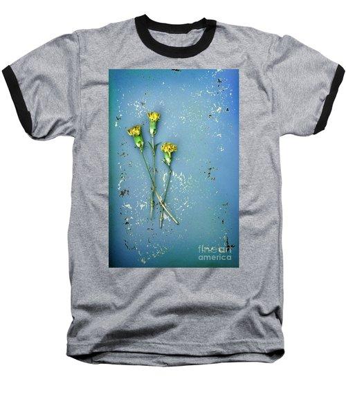 Baseball T-Shirt featuring the photograph Dry Flowers On Blue by Jill Battaglia