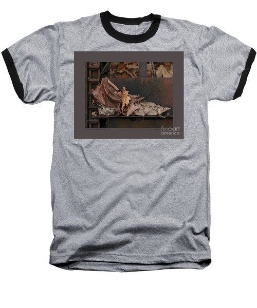 Baseball T-Shirt featuring the photograph Dry Leaves And Old Steel-i by Patricia Overmoyer