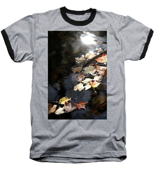 Baseball T-Shirt featuring the photograph Dry Leaves Floating On The Surface Of A Stream by Emanuel Tanjala