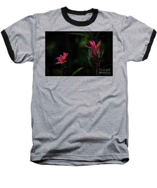 Dual Red Plumerias Baseball T-Shirt