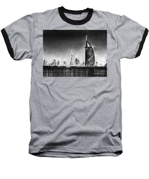 Dubai Cityscape Drawing Baseball T-Shirt