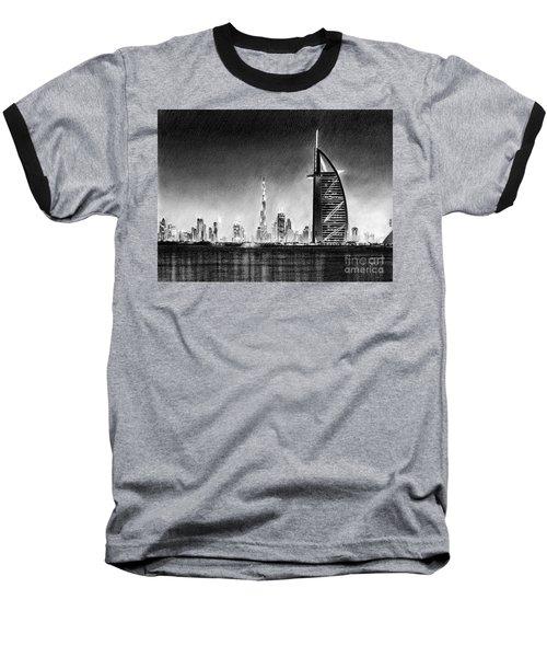 Dubai Cityscape Drawing Baseball T-Shirt