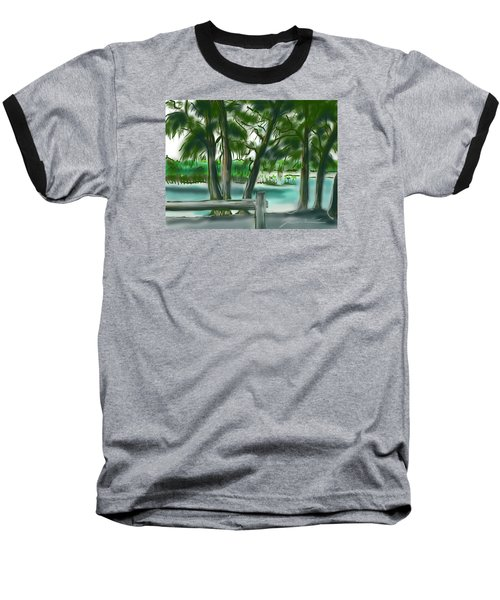 Baseball T-Shirt featuring the painting Dubois Park Lagoon by Jean Pacheco Ravinski