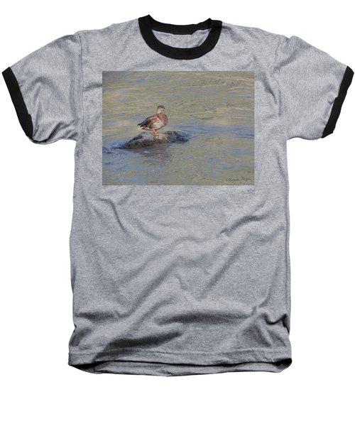 Duck Alone On The Rock Baseball T-Shirt