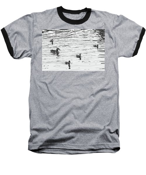 Duck And Ducklings Baseball T-Shirt