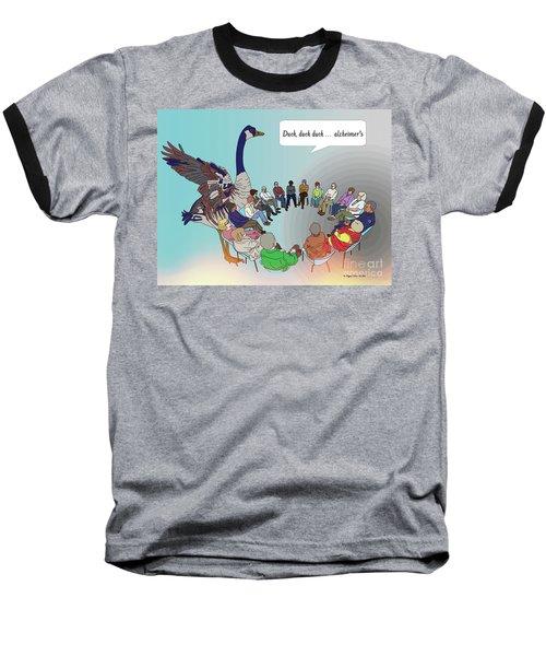 Duck, Duck, Alzheimers Baseball T-Shirt by Megan Dirsa-DuBois