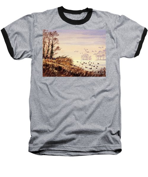 Baseball T-Shirt featuring the painting Duck Hunting Times by Bill Holkham