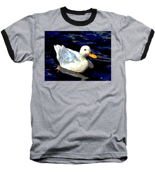 Duck In Water Baseball T-Shirt by Charles Shoup