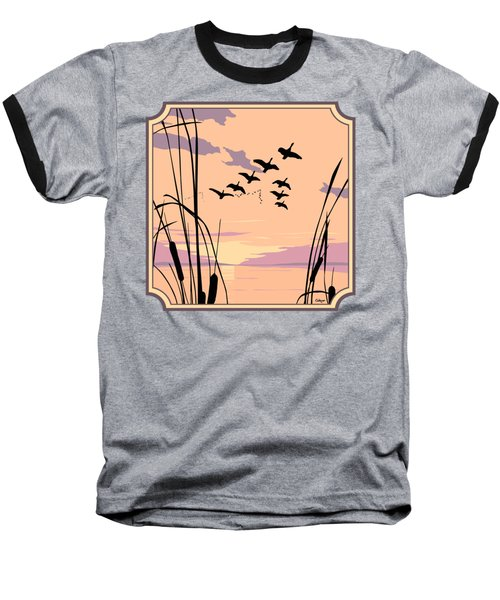 Ducks Flying Over The Lake Abstract Sunset - Square Format Baseball T-Shirt