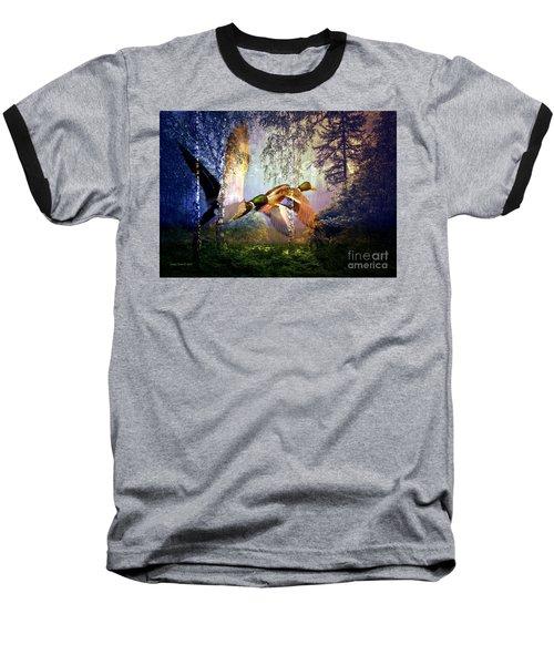 Ducks Flying To The Lake Baseball T-Shirt