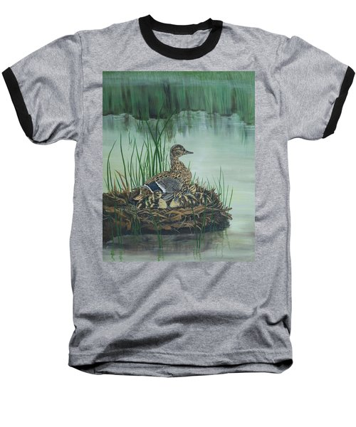 Ducks In Lifting Fog Baseball T-Shirt