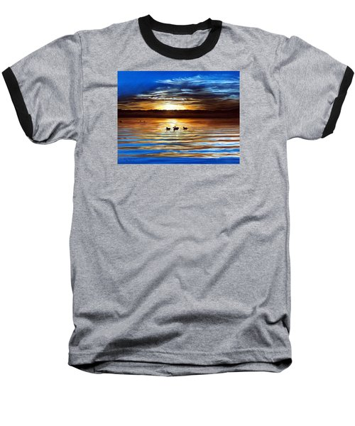 Ducks On Clear Lake Baseball T-Shirt by Linda Becker