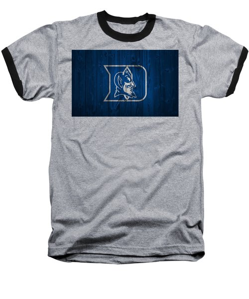 Duke Blue Devils Barn Door Baseball T-Shirt by Dan Sproul