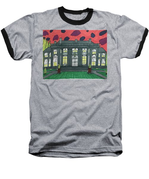 Baseball T-Shirt featuring the painting Dupont Family Mansion. by Jonathon Hansen