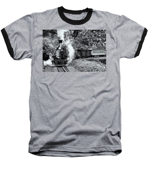 Durango Silverton Train Bandw Baseball T-Shirt