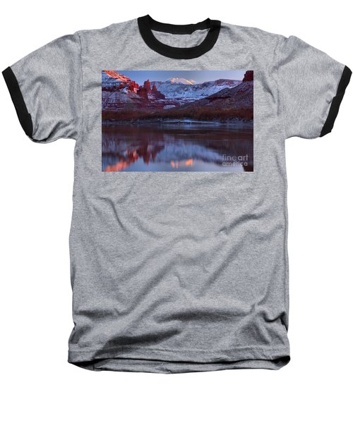 Baseball T-Shirt featuring the photograph Dusk At Fisher Towers by Adam Jewell