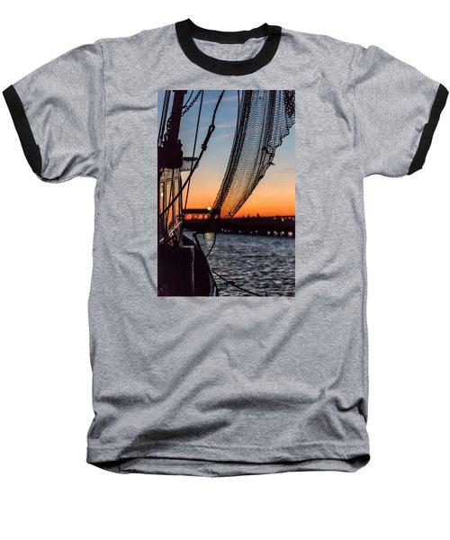 Dusk At Shem Creek Pier In Mt. Pleasant, Sc Baseball T-Shirt