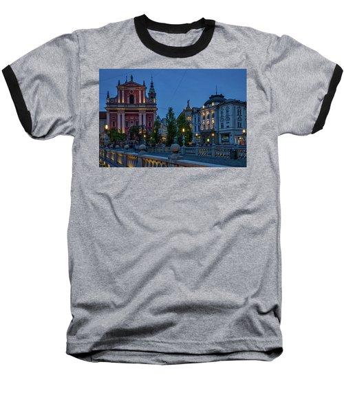 Baseball T-Shirt featuring the photograph Dusk At The Triple Bridge - Slovenia by Stuart Litoff