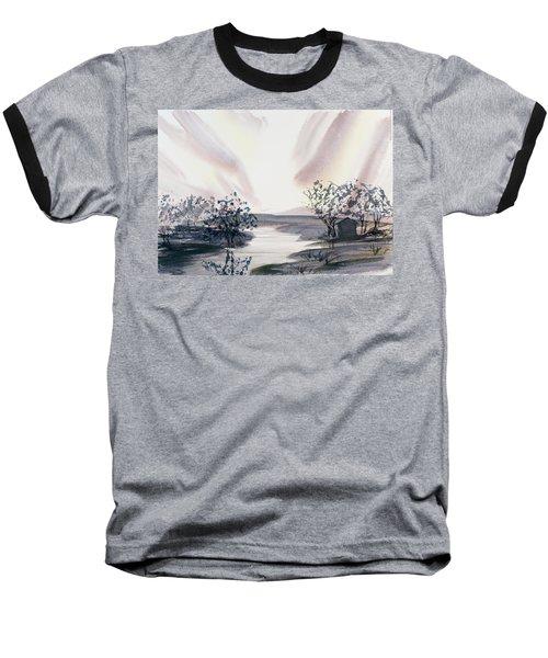 Dusk Creeping Up The River Baseball T-Shirt