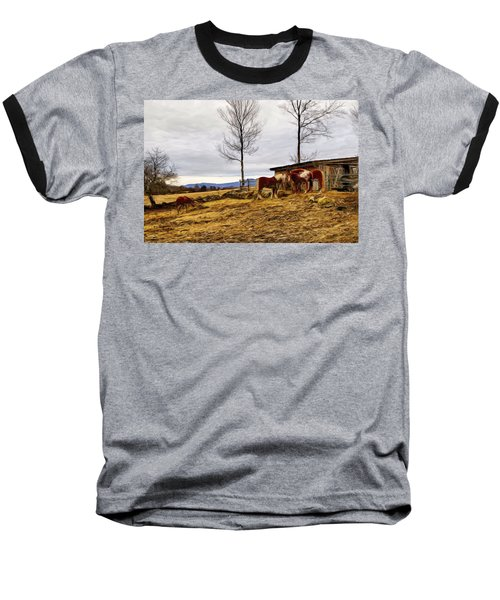 Dusk Feeding On The Farm Baseball T-Shirt