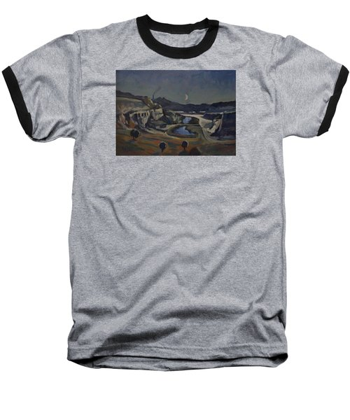 Baseball T-Shirt featuring the painting Dusk Over The Sint Pietersberg by Nop Briex