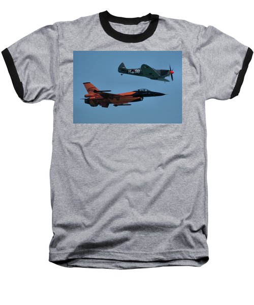 Dutch F-16 And Spitfire Baseball T-Shirt by Tim Beach