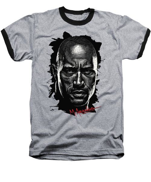 Dwayne Johnson Baseball T-Shirt by Maria Arango