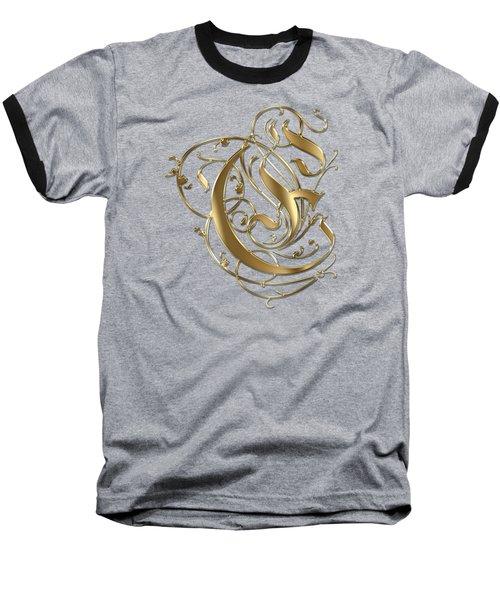 E Golden Ornamental Letter Typography Baseball T-Shirt by Georgeta Blanaru