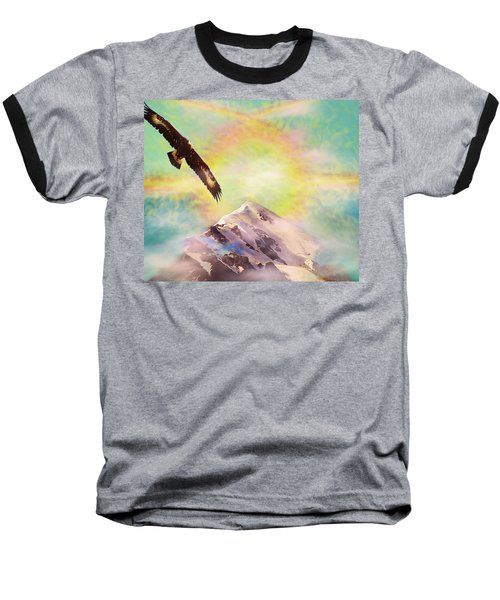 Eagle And Fire Rainbow Over Mt Tetnuldi Caucasus Baseball T-Shirt by Anastasia Savage Ealy