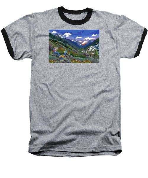 Baseball T-Shirt featuring the painting Eagle Boys Learn To Sing by Chholing Taha