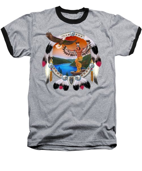 Eagle Dancer Baseball T-Shirt by Glenn Holbrook
