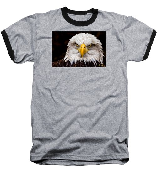 Defiant And Resolute - Bald Eagle Baseball T-Shirt by Rikk Flohr