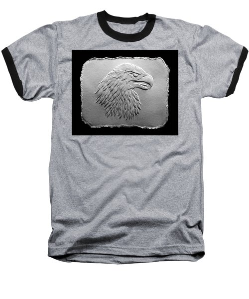Eagle Head Relief Drawing Baseball T-Shirt by Suhas Tavkar
