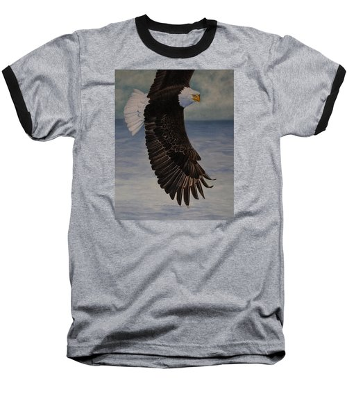 Baseball T-Shirt featuring the painting Eagle - Low Pass Turn by Roena King