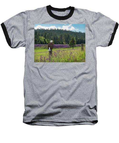 Eagle On Fence Post Baseball T-Shirt