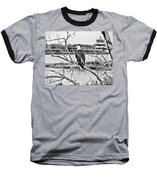 Eagle On The Illinois River Baseball T-Shirt by John Freidenberg