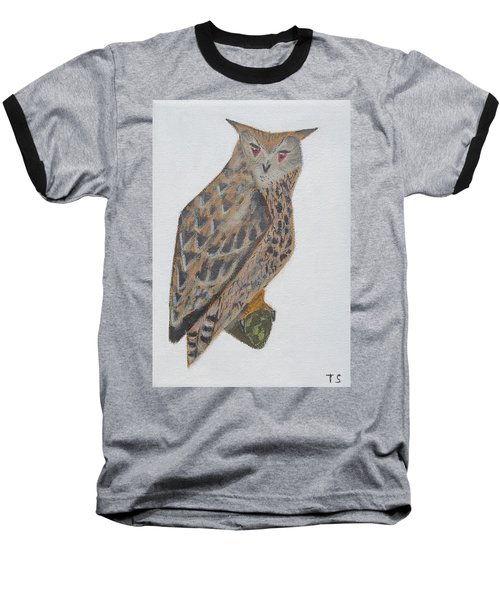 Eagle Owl Baseball T-Shirt by Tamara Savchenko