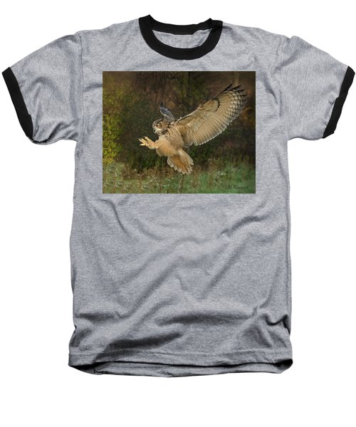 Eagle-owl Wings Back Baseball T-Shirt by CR Courson