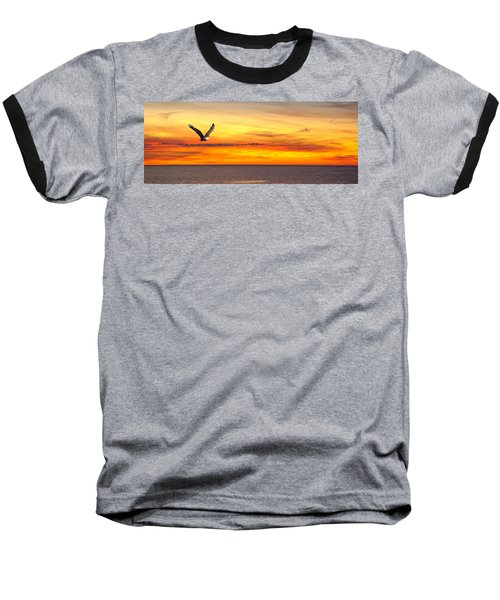 Eagle Panorama Sunset Baseball T-Shirt
