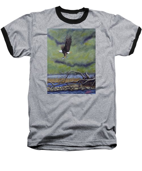 Baseball T-Shirt featuring the painting Eagle River by Dan Wagner