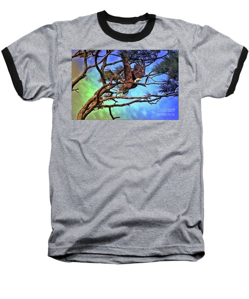 Baseball T-Shirt featuring the painting Eagle Series 2 by Deborah Benoit