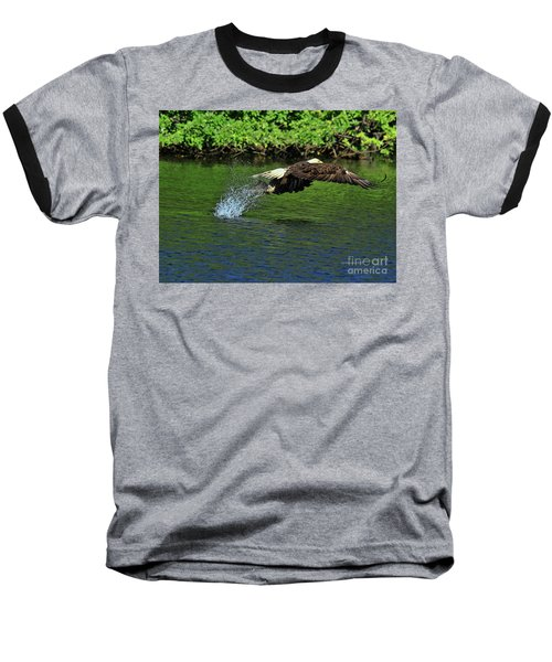Baseball T-Shirt featuring the photograph Eagle Series Fish Catch by Deborah Benoit