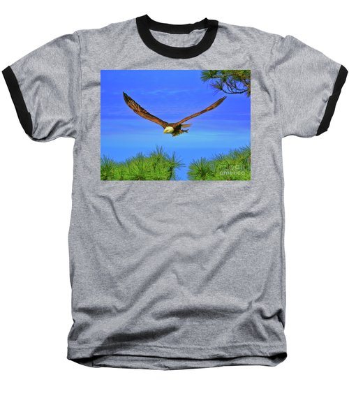 Baseball T-Shirt featuring the photograph Eagle Series Through The Trees by Deborah Benoit