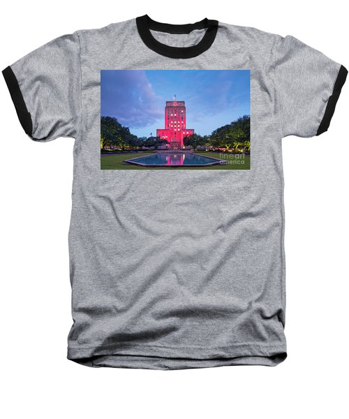 Early Dawn Architectural Photograph Of Houston City Hall And Hermann Square - Downtown Houston Texas Baseball T-Shirt